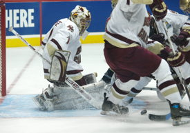 John Muse makes a save against Notre Dame. (photo: Candace Horgan.)