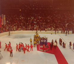Team USA congregates on the top step of the podium at the 1980 Winter Olympics award ceremonies (photo: Russell Jaslow).