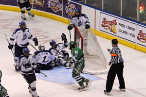 Mercyhurst is credited with a goal before the net is dislodged (photo: Ange Lisuzzo)