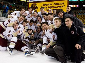 The Boston College Eagles pose with the Beanpot (photo: Melissa Wade).