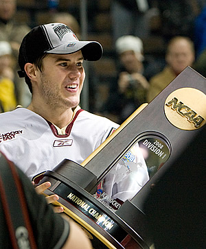 Boston College's Dan Bertram with the championship trophy (photo: Melissa Wade).