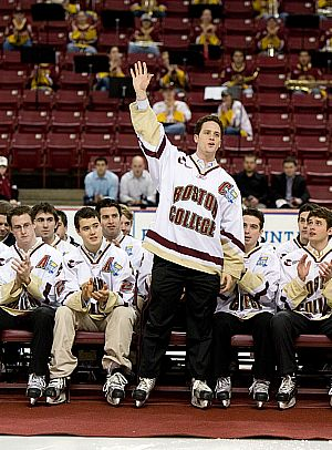 Boston College captain Mike Brennan acknowledges the crowd at the Eagles' reception Monday (photo: Melissa Wade).