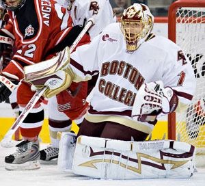 John Muse has been a fixture in net for Boston College this season (photo: Melissa Wade).