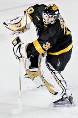 It goes without saying that Colorado College netminder Richard Bachman will be a rookie to watch this weekend (photo: Melissa Wade).