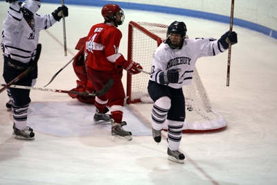 Senior Mickey Gilchrist looks to celebrate a fourth straight NESCAC title (photo by Albert Bitici)