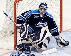 Ben Bishop left for the pro ranks after three seasons at Maine (photo: Melissa Wade).