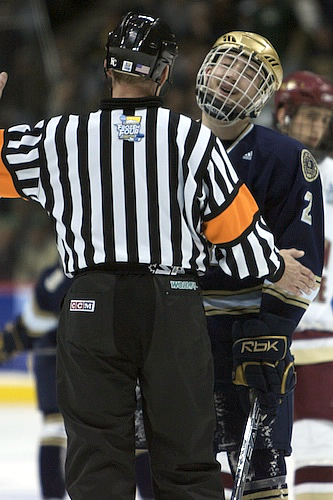 Kyle Lawson expresses his frustration to the referee during Saturday's championship game (photo: Jim Rosvold.)