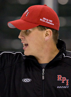 American Hockey Coaches Association president and Rensselaer coach Seth Appert is among those speaking out against the proposed change to call icing when a team is shorthanded (photo: Melissa Wade).