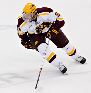 Gopher sophomore Kyle Okposo departs at mid-season after speculation that he would turn pro after his rookie year (photo: Melissa Wade.)