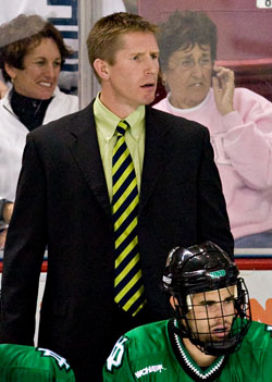 North Dakota coach Dave Hakstol watches his team play to a scoreless, abbreviated tie at Boston College in October (photo: Melissa Wade.)