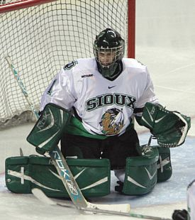 Jean-Philippe Lamoureux has been a steadying influence at North Dakota since assuming the starting job (photo: University of North Dakota).