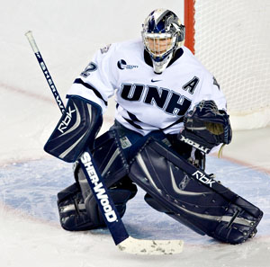 New Hampshire goalie and Hobey Baker finalist Kevin Regan adds the Walter Brown Award to a slew of Wildcat and Hockey East records (photo: Melissa Wade.)