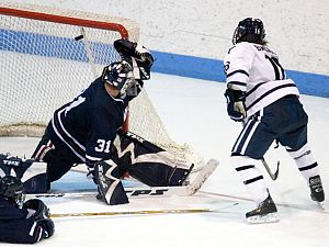 Sean Backman scores the game winner over UMass' Jon Anderson last November (photo: Melissa Wade).