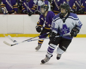 Freshman Mark Colp will be missed on the power play by the Lord Jeffs against Babson (photo: Tim Costello).