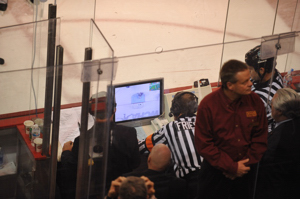 Pete Friesma reviews the no-goal. Photo by: Candace Horgan