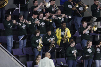 The George Mason pep band adopted Bemidji State for the team's Frozen Four visit (photo: Jim Rosvold).