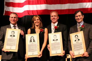 Brett Hull, Cammi Granato, Brian Leetch and Mike Richter hold their plaques after their induction into the U.S. Hockey Hall of Fame (photo: Candace Horgan).