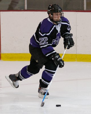 Senior defenseman Jeff Landers leads Amherst in scoring and pursuit of the NESCAC title.
