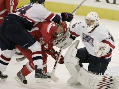 Robert Morris got the better of this exchange, but Ohio State won the game (photo: Robert Morris athletics).