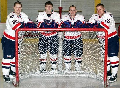 Robert Morris' senior class of (l.-r.) Matt Krug, Jake Obermeyer, Chris Margott and Jason Towsley were honored prior to last Saturday's game against Niagara (photo: Robert Morris University).
