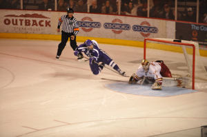 Everett Sheen's highlight reel goal in the shootout. Photo by: Candace Horgan
