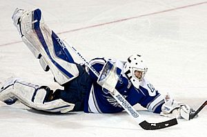 Volkening makes a save during the game against Miami in the NCAA tournament. Photo by Melissa Wade.