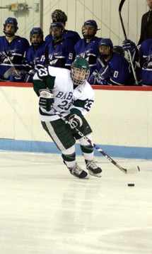 Overtime hero Brad Baldelli of Babson looks to extend the team's winning ways in march against Amherst (photo: Tim Costello).