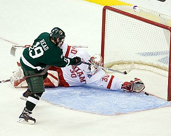 Matt Read scored for Bemidji State, but Miami holds a two-goal lead after two periods (photo: Melissa Wade).