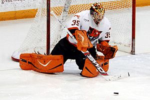 Alan Fritch made 31 saves to lead Buffalo State into the SUNYAC playoffs.