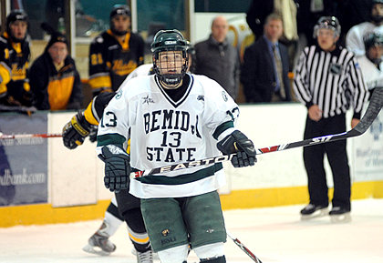 Tyler Scofield starred for Bemidji State in the Beavers' sweep of WCHA foe Michigan Tech (photo: BSU photo services).