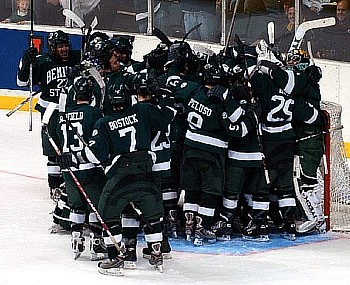 Bemidji State celebrates its victory over top-seeded Notre Dame (photo: Christopher Brian Dudek).