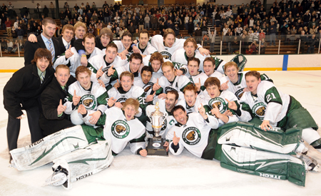 Bemidji State celebrates with the Peters Cup as the CHA regular-season champions (photo: BSU photo services).