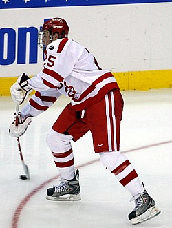 Colby Cohen scored the winning goal in overtime to give Boston University the title (photo: Jim Rosvold).