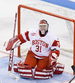 Kieran Millan stopped 33 of 34 Denver shots as Boston University claimed the Denver Cup title (photo: Melissa Wade).