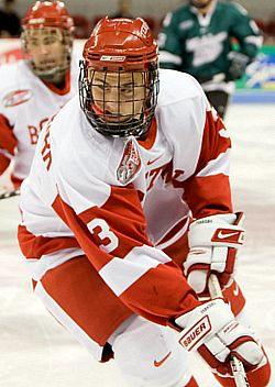 Kevin Shattenkirk provides an offensive spark from the Boston University blueline (photo: Melissa Wade).