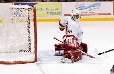 Ben Scrivens carried Cornell to a three-point weekend to start the Big Red's ECAC Hockey season (photo: Cornell University).
