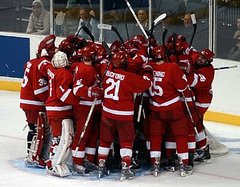 Cornell celebrates after completing its three-goal rally Saturday (photo: Christopher Brian Dudek).