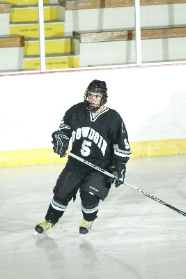 Bowdoin defenseman Mike Corbelle leads the Polar Bears in search of a road win at Williams in the NESCAC conference tournament (photo: Tim Costello).