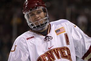 Rhett Rakhshani is an offensive force for Denver, the consensus favorite to win the WCHA (photo: Candace Horgan).