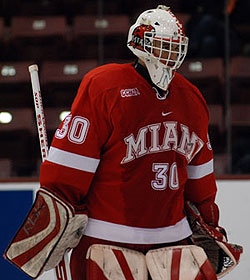 Cody Reichard backstopped Miami through the West Regional, but who'll play in net Thursday against Bemidji State remains to be seen (photo: Tim Brule).