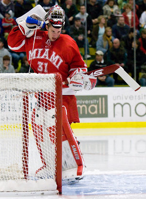 Connor Knapp sports an 8-3-1 record and a 2.03 goals against average for Miami (photo: Melissa Wade).