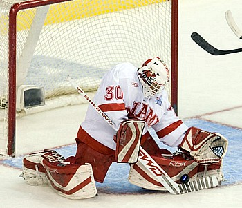 Cody Reichard stopped 24 of 25 shots as Miami reached the national title game (photo: Melissa Wade).