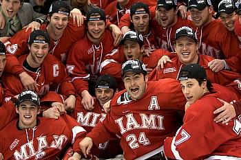 It's not hard to tell how the Miami RedHawks feel about reaching their first Frozen Four (photo: Jim Rosvold).