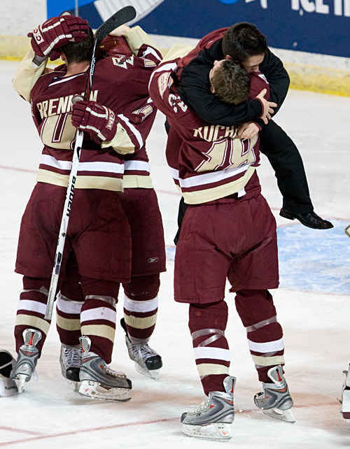 Justin Murphy (hugging Kyle Kucharski) celebrates with the Eagles after Boston College's 2008 NCAA tournament win over Miami (photos: Melissa Wade).