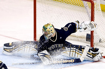 Jordan Pearce waited his turn to start for Notre Dame, but now the net is all his (photo: Melissa Wade).