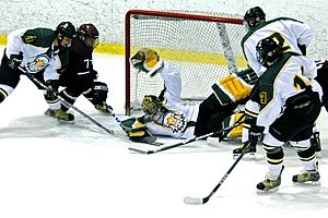 Todd Sheridan makes one of his 43 saves to lead Brockport to victory (photos: Angelo Lisuzzo).