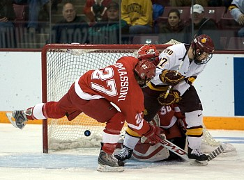 Minnesota Duluth had this would-be goal disallowed for a skate in the crease (photo: Jim Rosvold).