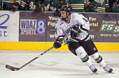 Brad Miller has made an unanticipated and highly successful move to defense for North Dakota this season (photo: Kory Wallen / UND athletics).