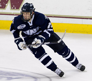 UNH's James van Riemsdky was one of 13 U.S. college players named to this year's World Junior Championship lineup for Team USA (photo: Melissa Wade)