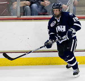 Mike Sislo, part of UNH's stellar sophomore class, is tied for sixth nationally with 14 goals (photo: Melissa Wade).